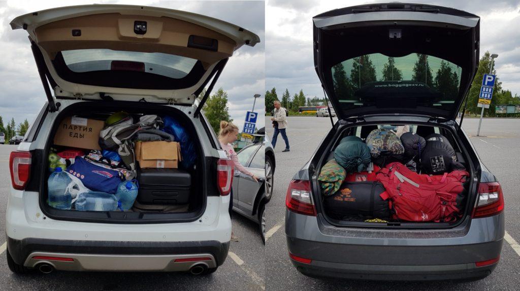 Багажники в начале путешествия